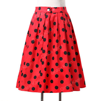 Skirts Womens Fashion print Polka dot retro Vintage 50s skirts Pinup 60s Cotton Jupe Femme Saias Summer style Dance women Skirt