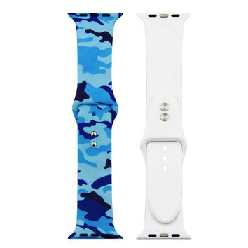 Blue Camo Silicone Replacement Apple Watch Band