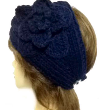 Women's Navy Blue Large Crochet Flower Adjustable 2 Button Stretch Headband Ear Warmer Crochet Headband