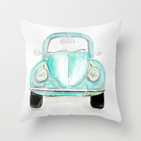 VW Beetle - Watercolor Throw Pillow by Craftberrybush