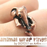 Realistic Elephant Animal Wrap Around Hug Ring in Copper Sizes 4 to 9