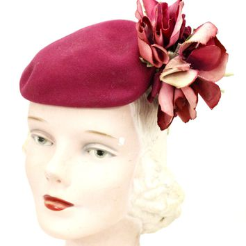 Vintage Doll Hat Miniature Hat Doll Fascinator 1930s Dark Pink Big Flowers Womens  O/S