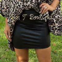 Walk This Way Faux Leather Skirt
