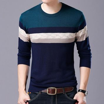 Autmn Winter New Men's Long Sleeve Sweaters Knitted Cashmere Striped Fashion Social Slim Fit Brand O-neck Male Casual Pullover