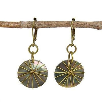 Wire-wrapped Round Shell Earrings