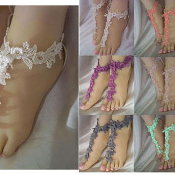 Barefoot Sandals, Beach Bride Sandals, Lace Flower Barefoot Sandals, Bridesmaids Barefoot Sandals, Lace Foot Jewelry, Designs By Loure