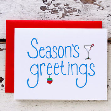 Season's Greetings Christmas Martini and Ornament Card.  Festive and Whimsical.  Blue and White.