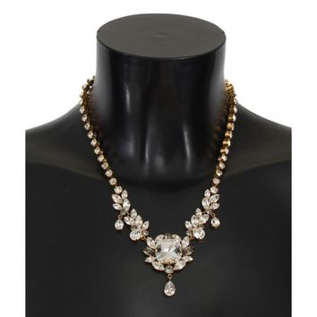 Dolce & Gabbana Gold Brass Clear Gray Crystal Sicily Necklace