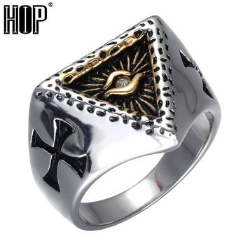 HIP Punk Geometric Triangle Mens Ring Cross Mark Titanium Stainless Steel Illuminati Pyramid Eye Symbol Rings for Men Jewelry