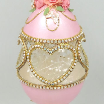 Pink Jeweled Heart Ornament with Pink Roses Hand Cut Decorated Goose Egg Ornament Home Decor Faberge Style Egg Art
