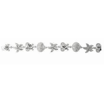 Silver Rhodium Finish Textured Shiny Sea Shell+Star Fish+Turtle Sea Life Bracelet with Lobster Clasp