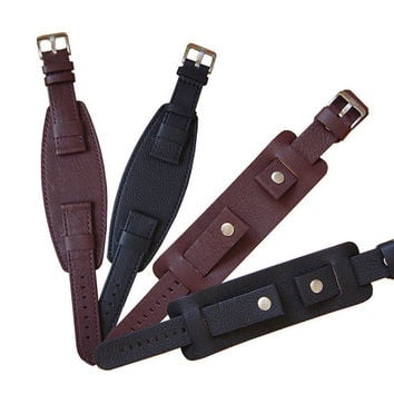 20mm Bikers wide Leather Watch Band