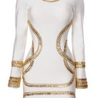 Africa Kim Kardashian Sass Bide White Bandage Dress Long Sle