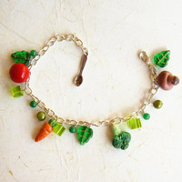 Vegetables Charm Bracelet, Polymer Clay Cook or vegetarian bracelet