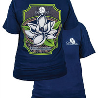 Southern Couture Preppy Magnolia Flower Comfort Colors Navy Girlie Bright T Shirt