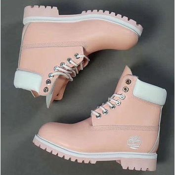 Timberland Rhubarb boots for men and women shoes waterproof Martin boots lovers Pink