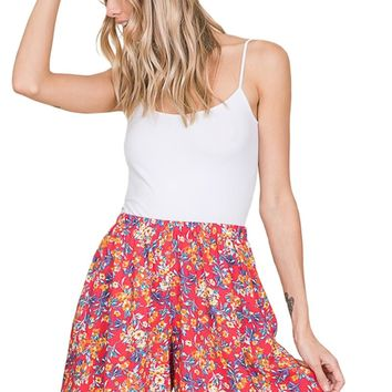 Elastic Waistband Shorts with Pockets Print