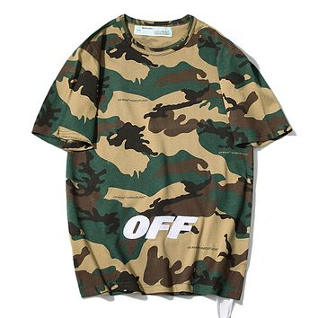 Off White Fashion New Embroidery Letter Camouflage Women Men Loose Leisure Top T-Shirt