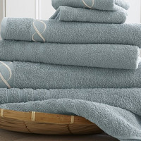 Embroidered 100% Cotton 6-Piece Chain Towel Set (Ice Blue)