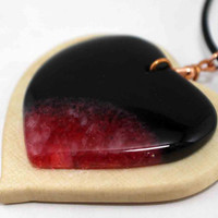 Birchwood backed heart shaped stone pendant necklace - handmade jewelry - fashion jewelry - wood and stone pendant