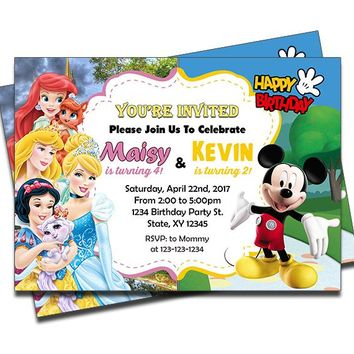 Disney Princesses and Mickey Mouse - Double Birthday Invitations