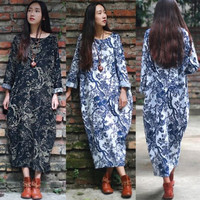 ZANZEA Women's Long Sleeve Loose Casual Floral Print Plus Long Maxi Dress Kaftan
