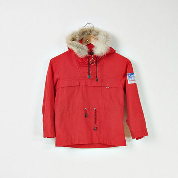 SALE 30% OFF - 70s Norefjell Sportline Children Anorak Jacket/ Real Fur / Silicone Proofed / Unisex Children Boys Girls / Size 125