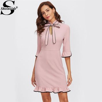 Sheinside Tie Neck Contrast Binding Ruffle Cute Dress 2017 Women Pink Band Collar Half Sleeve Cut Out Elegant Party Dress