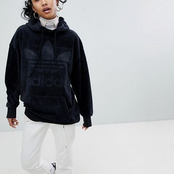 adidas Originals Velour Oversized Hoodie In Black at asos.com
