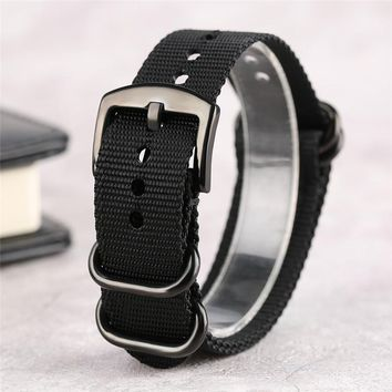 Cost-effective Black Army Green Nylon Watch Band Pin Buckle 20/22/24mm Ourdoor Soft Military Sport Replacement