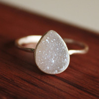 White Druzy Teardrop Ring - Sterling Silver - Ice Cool