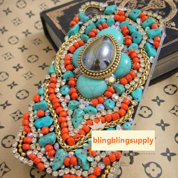 Boho Beads Bohemian Gems Case iphone 3/4/4s/5,Apple ipod 4/5,Samsung Galaxy S3/S4/S4 Active,Samsung Note 1/2/3,Htc One,Blackberry Q10 Z10