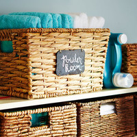Bryant Medium Wicker Basket with Chalkboard