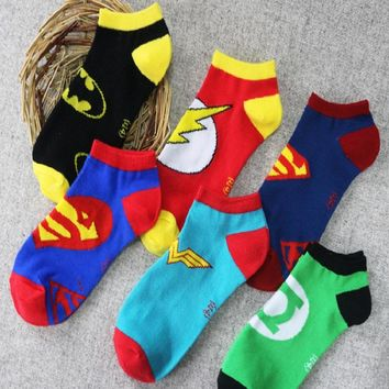 2018 New Arrival Cotton New Foreign Trade Men And Women Superman Batman Socks Shallow Mouth Lovers American Hero