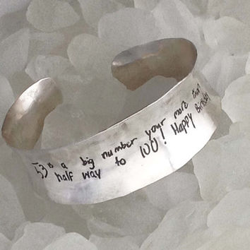 Actual Handwriting Sterling Cuff Bracelet by donnaodesigns