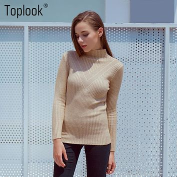 Toplook Striped Knitted Womens Sweaters 2017 Winter and Autumn New Long Sleeve Turtleneck Pullover Solid Casual Fitness Sweater
