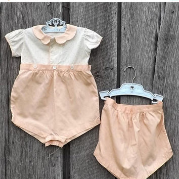 ON SALE - Vintage Baby Girl Bloomer Set, 3 Pc Set Peach & White Handmade Outfit