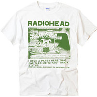 Radiohead Ice Cap-Green britpop rock band white t-shirt