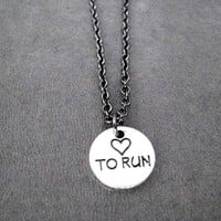 HEART TO RUN Pewter Pendant Necklace - Pewter pendant priced with Gunmetal chain