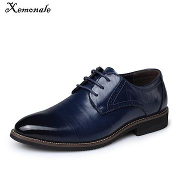 Xemonale High-quality Men Brogue Shoes Lace-up Style Flat Leather For Man Solid Pointed Toe Suede Casual Shoe Large Size 38-45
