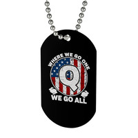 QAnon Dog Tag Beaded Necklace Where We Go One We Go All American Flag Patriotic White Rabbit Follow The Rabbit Q Anon Gift