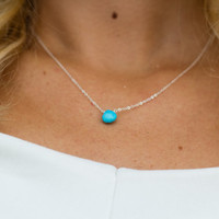 turquoise howlite heart briolette necklace - sterling silver necklace
