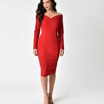 Unique Vintage 1960s Red Cotton Stretch Long Sleeved Cape Cod Wiggle Dress