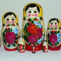 Handmade Russian traditional matryoshka, 8 pcs.