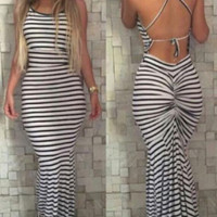 New summer sexy Women stripe printed backless Dresses-0525
