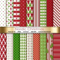 Digital Paper Nordic Christmas Digital Paper Pack Scandinavian Printable Designs Instant Download Scrapbooking Collection - Red Green