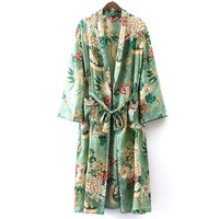 Women vintage floral cardigan coat open stitch sashes outerwear ladies style casual fashion long tops