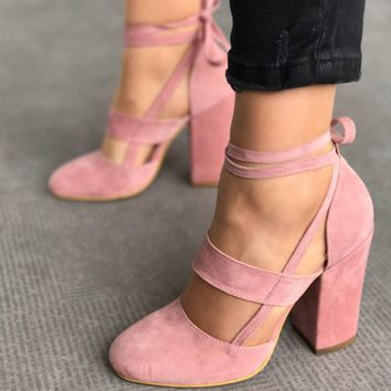 Newest Women Elegant Sexy Ankle Straps High Heels Shoes Summer Ladies Bridal Suede Thick Heel Sandals Party Clubwear Pumps