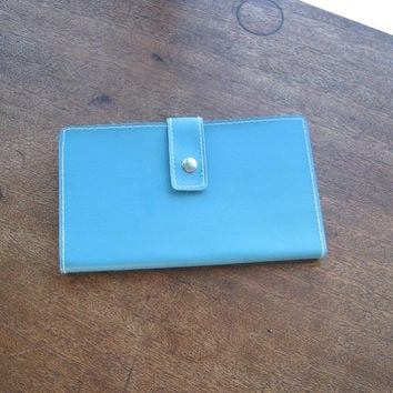 Turquoise Blue Leather Vintage Diary - Unused Blue Lined Journal - Retro Girl Diary/Confession Book