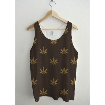 LV Brown Gold Cannabis Pattern Full Print Unisex Tank Top